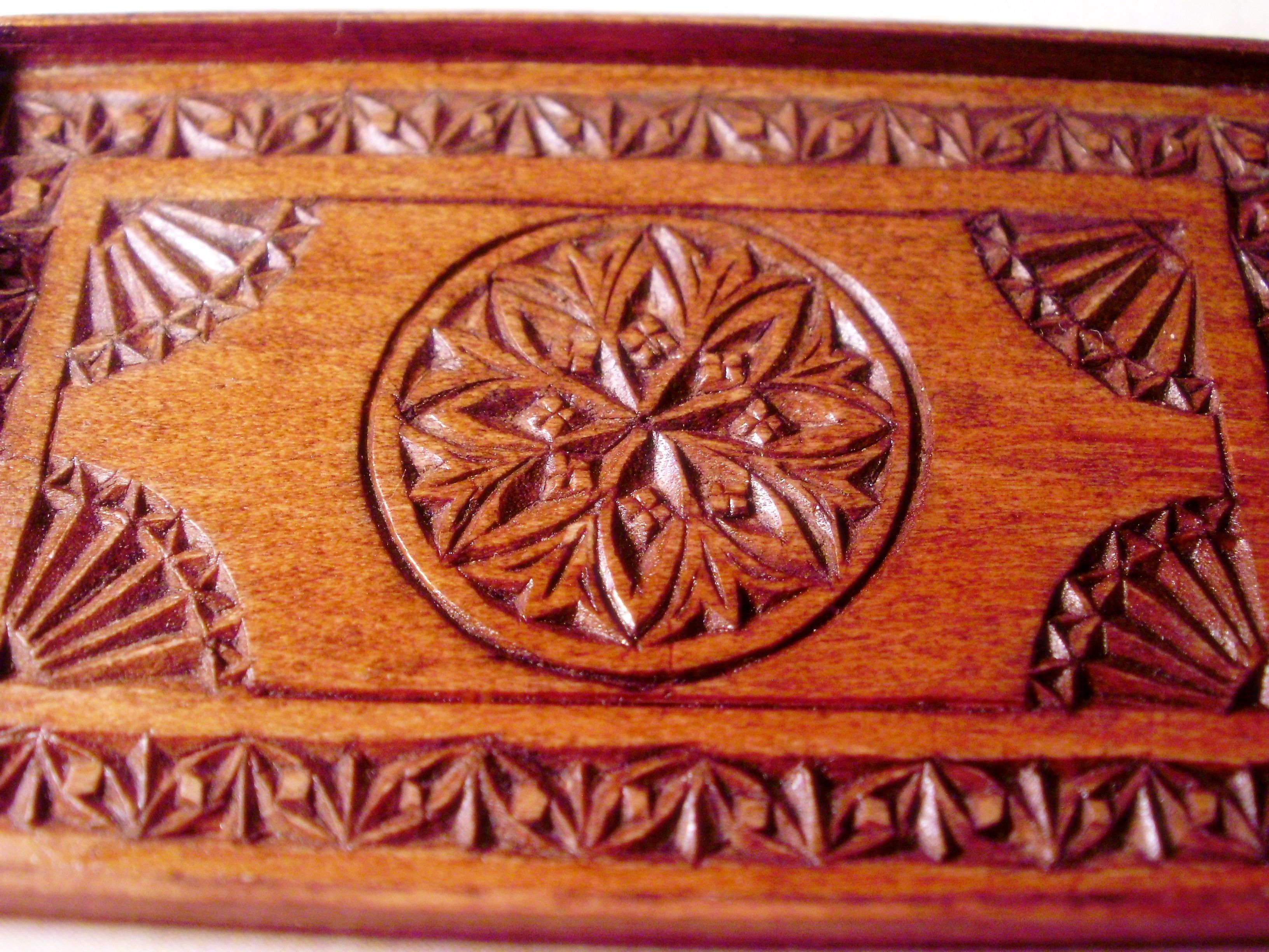 antique chip-carved tray
