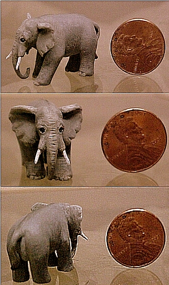hand carved wood micro miniature elephant