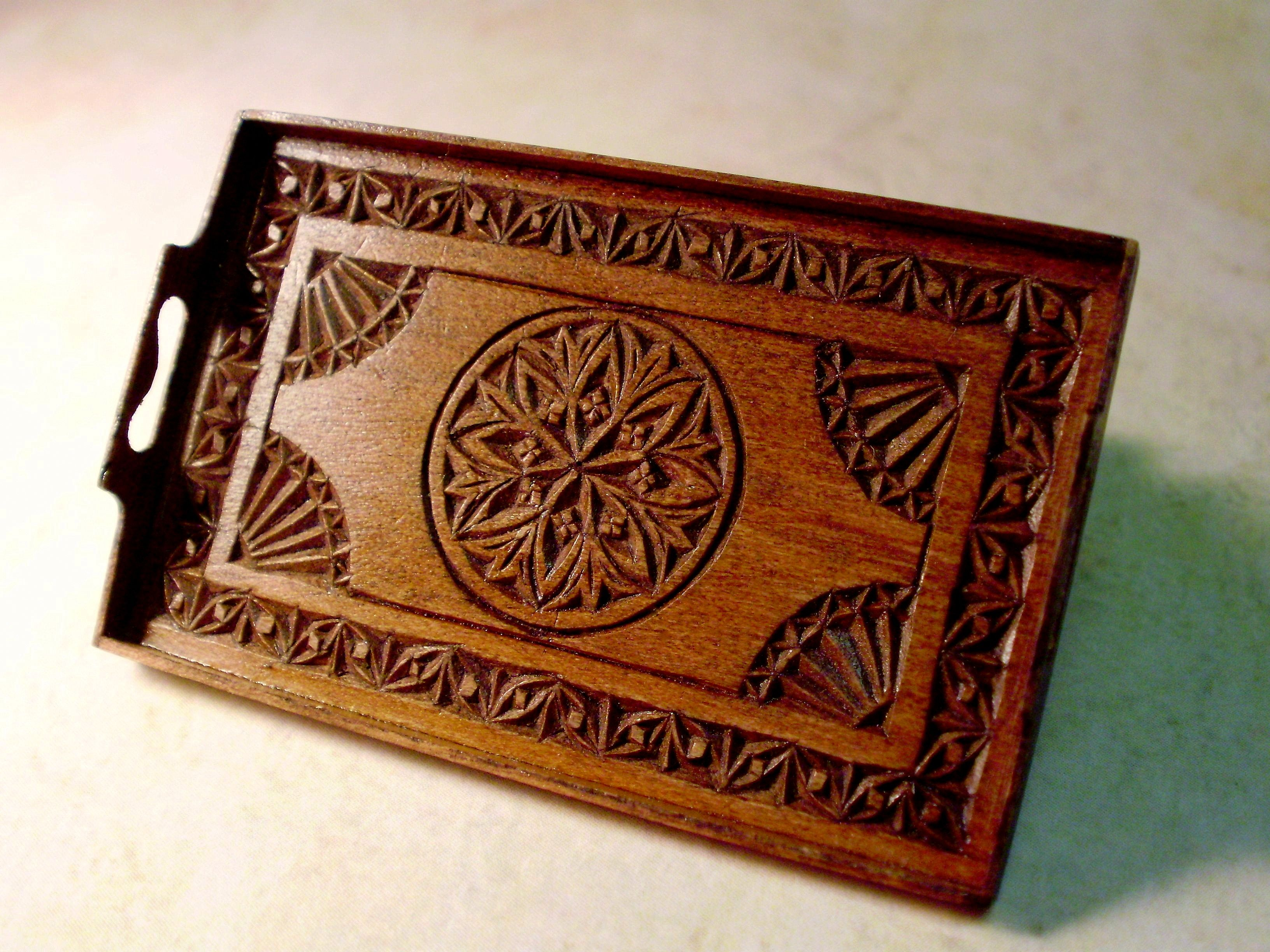 chip-carved antique tray