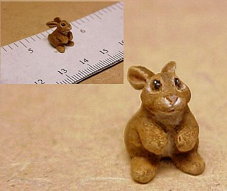 hand carved wood bunny