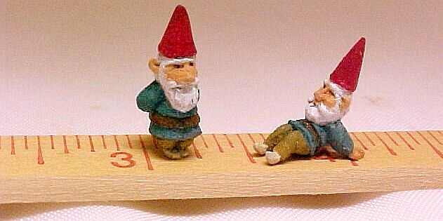 Tiny hand carved hand painted wood gnomes