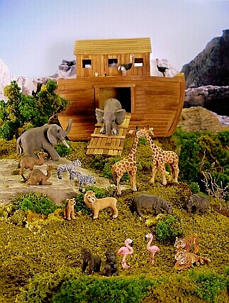 hand carved wood noah's ark diorama