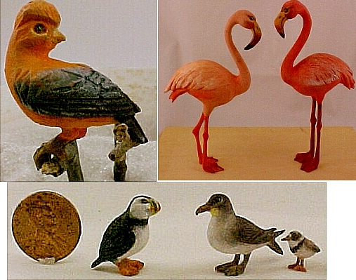 hand carved wood miniature birds