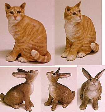 hand carved wood miniature cat and bunny