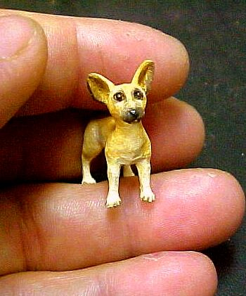 hand carved wood miniature chihuahua