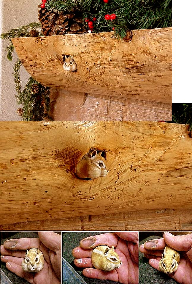 hand carved wood miniature custom chipmunk