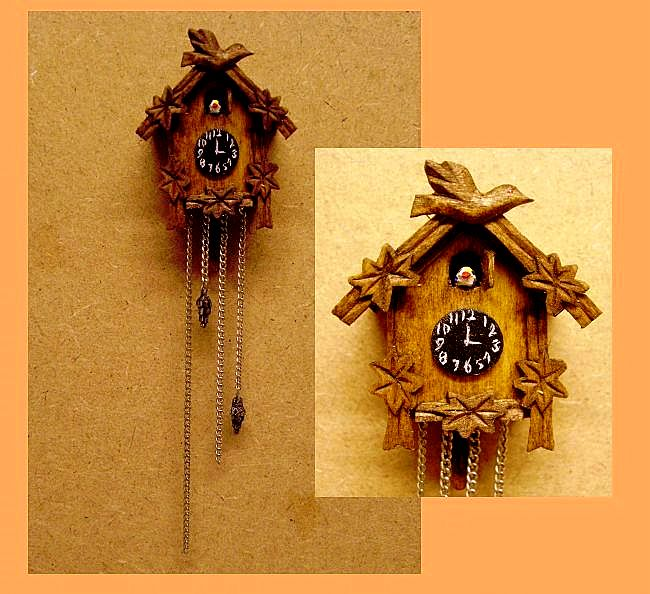 non working 1:12 scale dollhouise miniature cuckoo clock