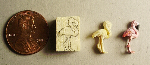 hand carved wood flamingo carving stages