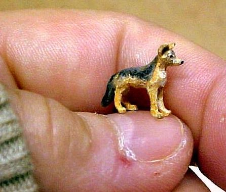 hand carved wood micro miniature jackal