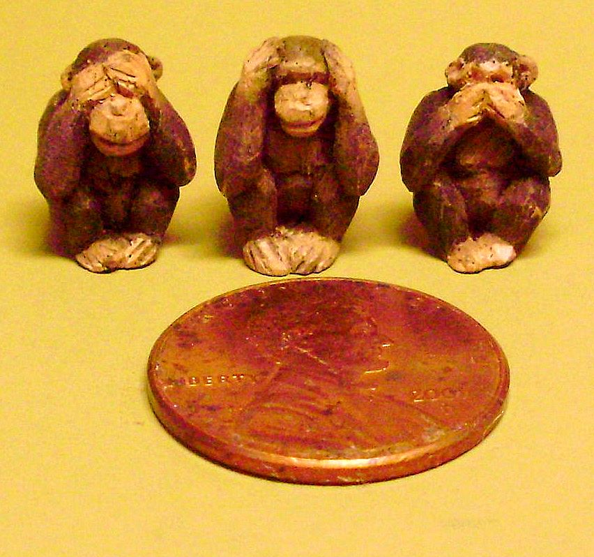 hand carved wood miniature monkeys