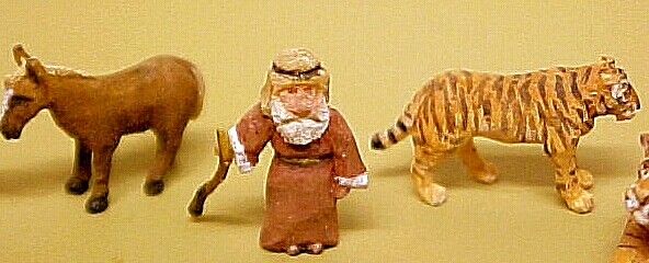 hand carved wood micro miniature animals and noah