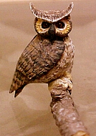 hand carved wood miniature owl