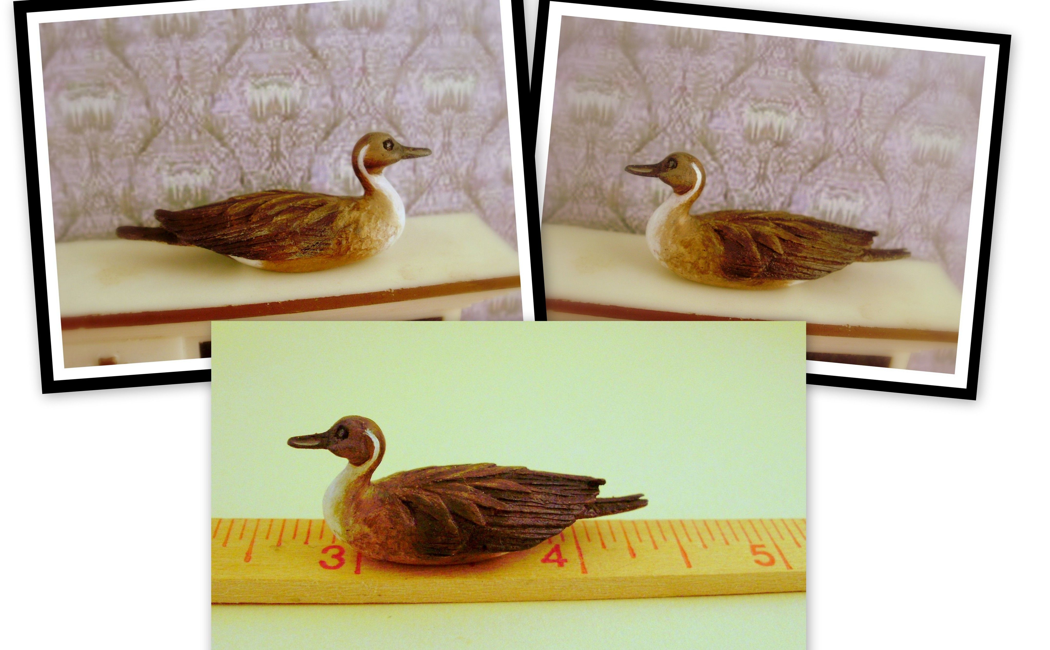 Hand carved wood 1:12 scale Pintail duck decoy