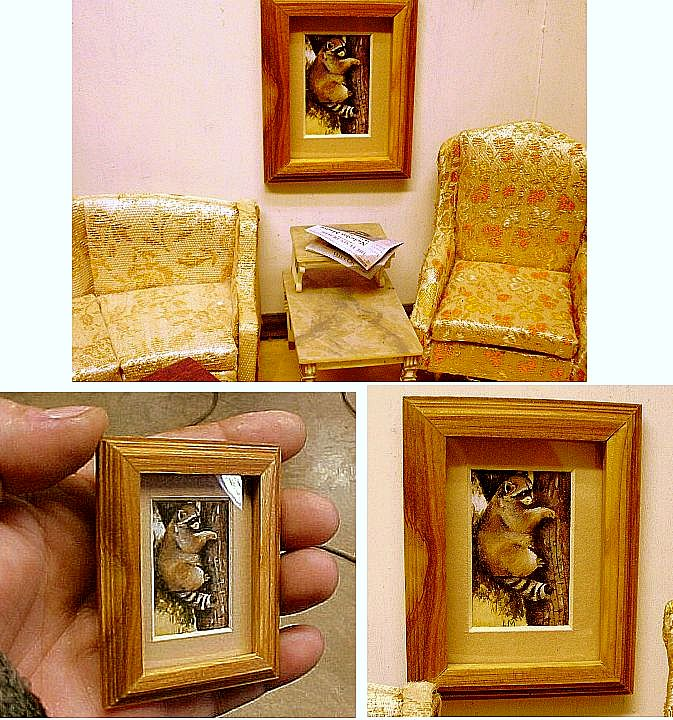Hand made raccoon painting custom matted and framed dollhouse miniature art.
