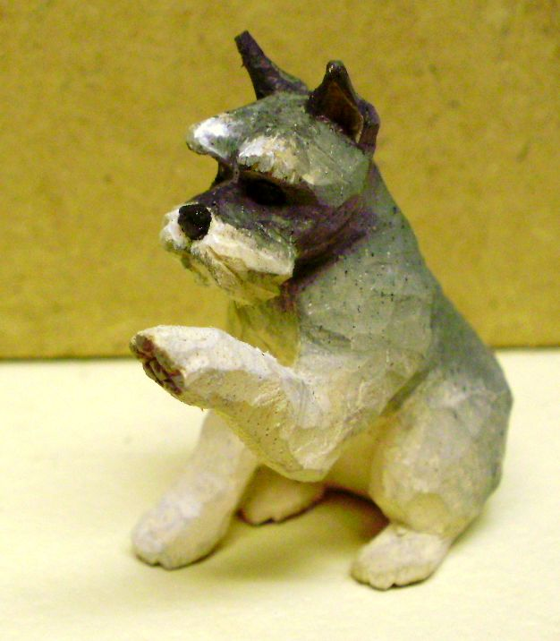 hand carved wood miniature schnauzer