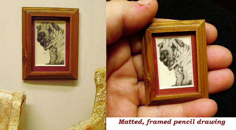 framed dollhouse miniature pencil drawing 1:12 scale