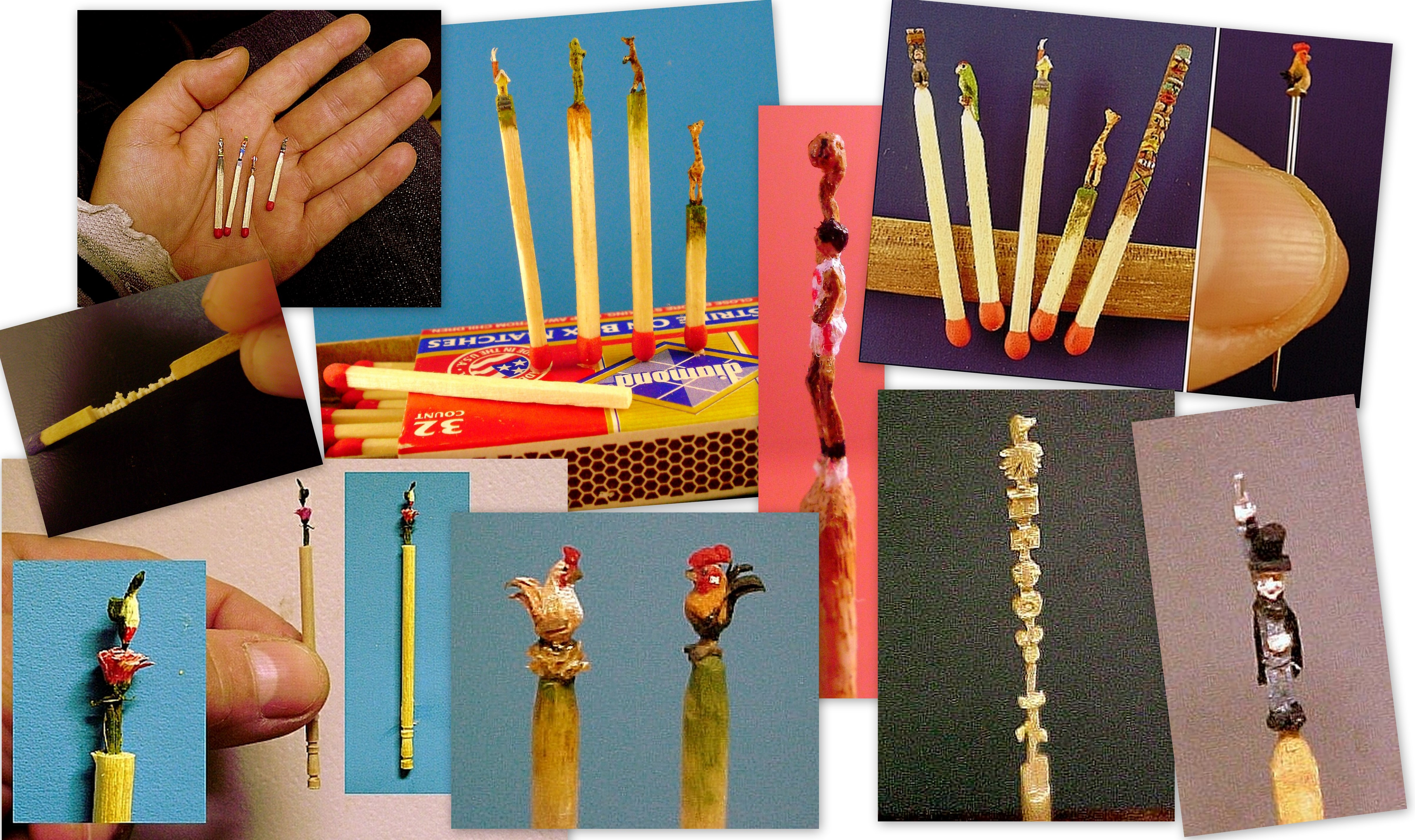 Very intricate hand carved hand painted toothpicks and matchsticks